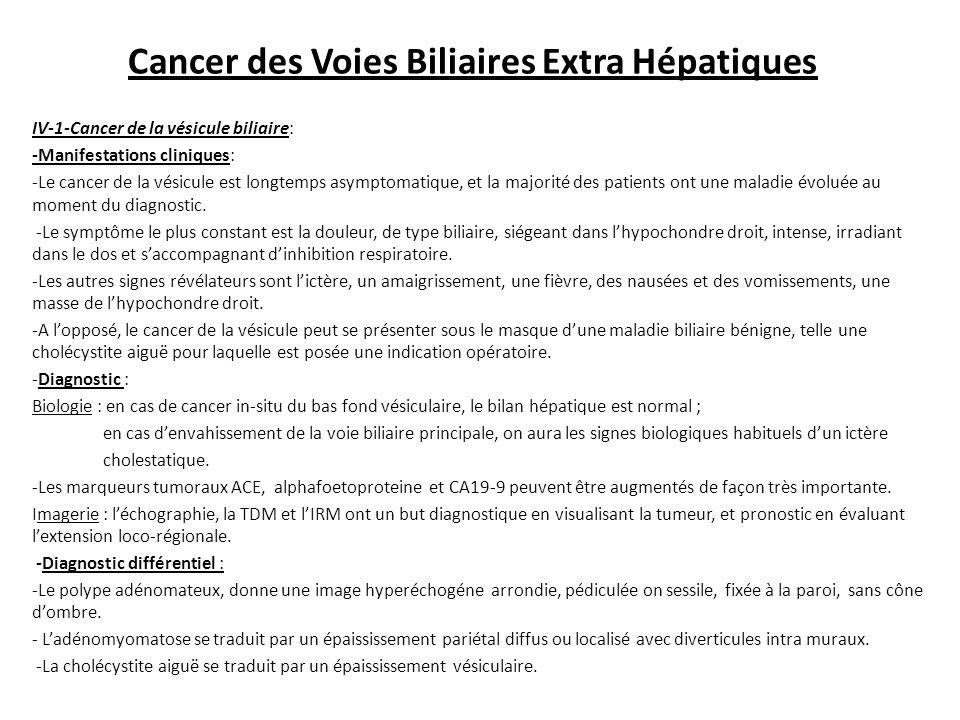 Cancer des Voies Biliaires Extra Hépatiques IV-1-Cancer de la vésicule biliaire: -Manifestations cliniques: -Le cancer de la vésicule est longtemps asymptomatique, et la majorité des patients ont une maladie évoluée au moment du diagnostic.