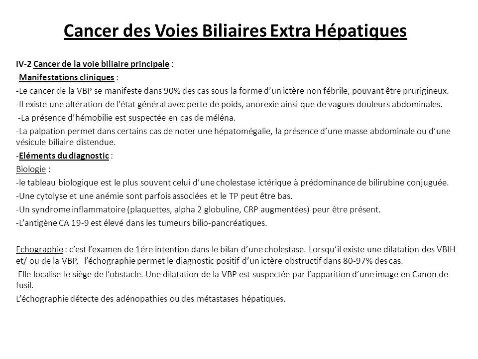 Cancer des Voies Biliaires Extra Hépatiques IV-2 Cancer de la voie biliaire principale : -Manifestations cliniques : -Le cancer de la VBP se manifeste dans 90% des cas sous la forme d'un ictère non fébrile, pouvant être prurigineux.