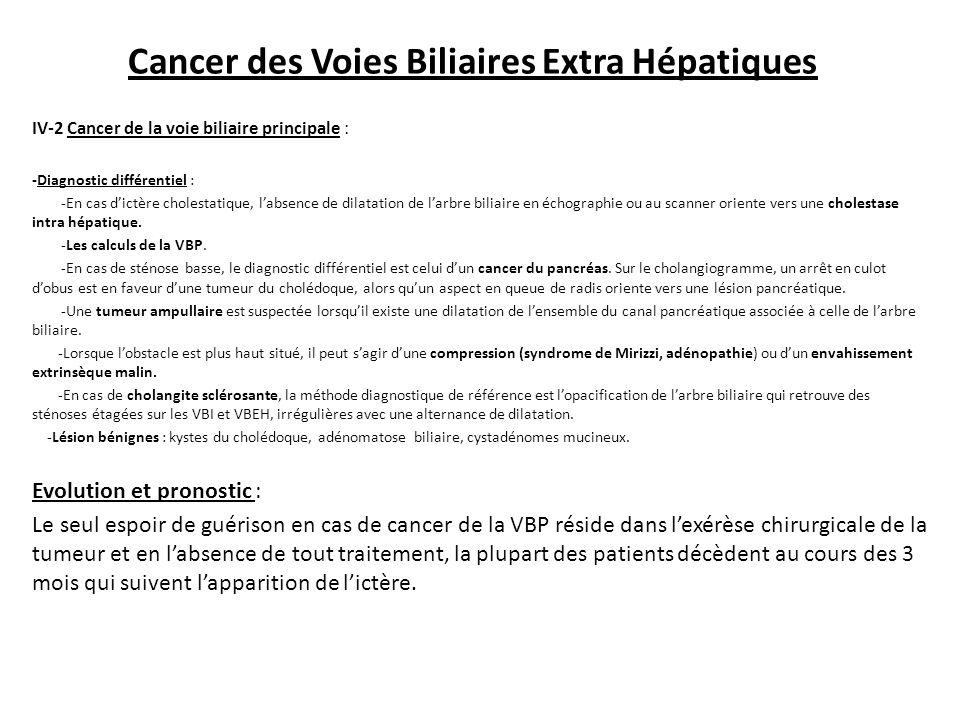Cancer des Voies Biliaires Extra Hépatiques IV-2 Cancer de la voie biliaire principale : -Diagnostic différentiel : -En cas d'ictère cholestatique, l'absence de dilatation de l'arbre biliaire en échographie ou au scanner oriente vers une cholestase intra hépatique.