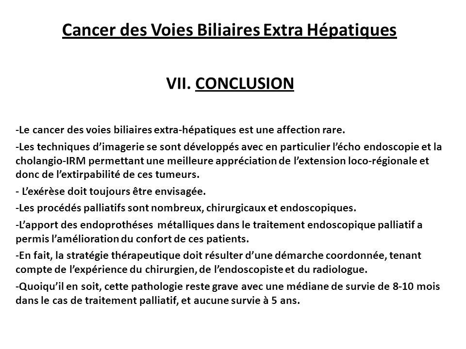 Cancer des Voies Biliaires Extra Hépatiques VII.
