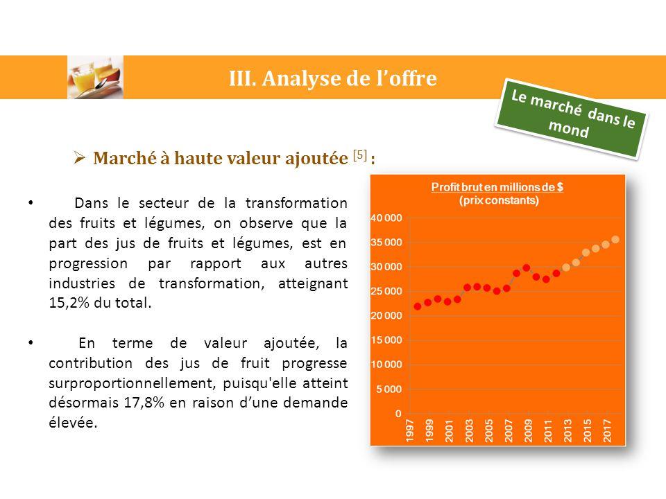 III. Analyse de l'offre Le marché dans le mond  Marché à haute valeur ajoutée [5] : Dans le secteur de la transformation des fruits et légumes, on ob