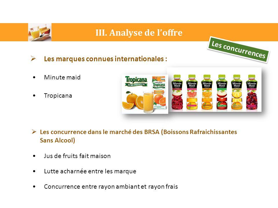 III. Analyse de l'offre Les concurrences  Les marques connues internationales : Minute maid Tropicana  Les concurrence dans le marché des BRSA (Bois