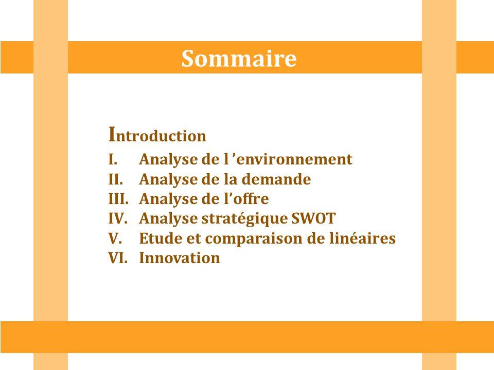 I ntroduction I.Analyse de l 'environnement II.Analyse de la demande III.Analyse de l'offre IV.Analyse stratégique SWOT V.Etude et comparaison de liné