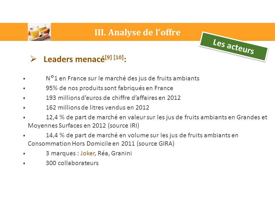 III. Analyse de l'offre  Leaders menacé [9] [10] : N°1 en France sur le marché des jus de fruits ambiants 95% de nos produits sont fabriqués en Franc