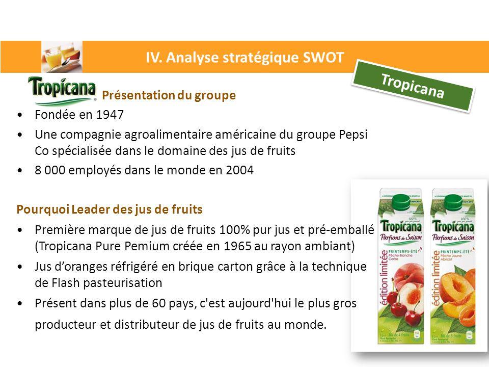 Tropicana Présentation du groupe Fondée en 1947 Une compagnie agroalimentaire américaine du groupe Pepsi Co spécialisée dans le domaine des jus de fru