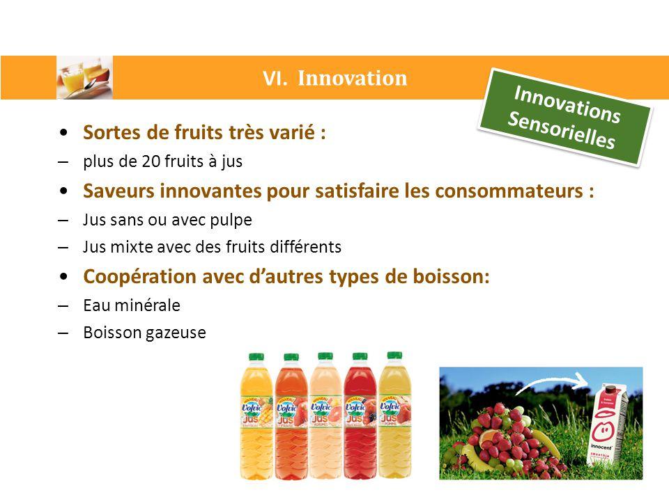 VI. Innovation Innovations Sensorielles Sortes de fruits très varié : – plus de 20 fruits à jus Saveurs innovantes pour satisfaire les consommateurs :