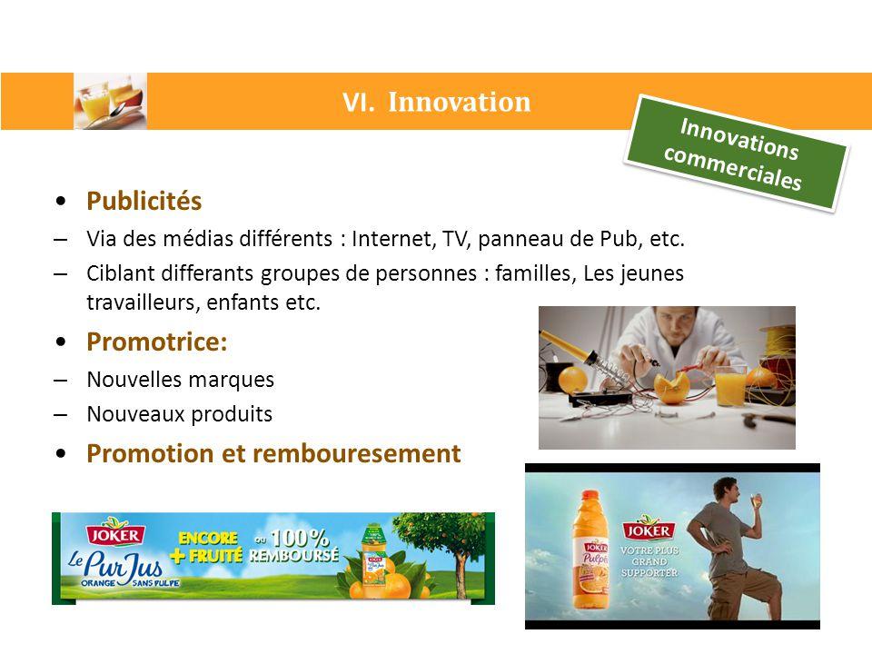 VI. Innovation Innovations commerciales Publicités – Via des médias différents : Internet, TV, panneau de Pub, etc. – Ciblant differants groupes de pe