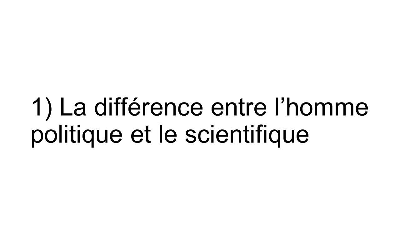Le savant et le politique Dans sa conférence sur « La vocation de savant » (1919), Max WEBER oppose la démarche du scientifique à celle du politique : Le politique prend des décisions (jugement de valeur), alors que le scientifique analyse (jugement de fait).