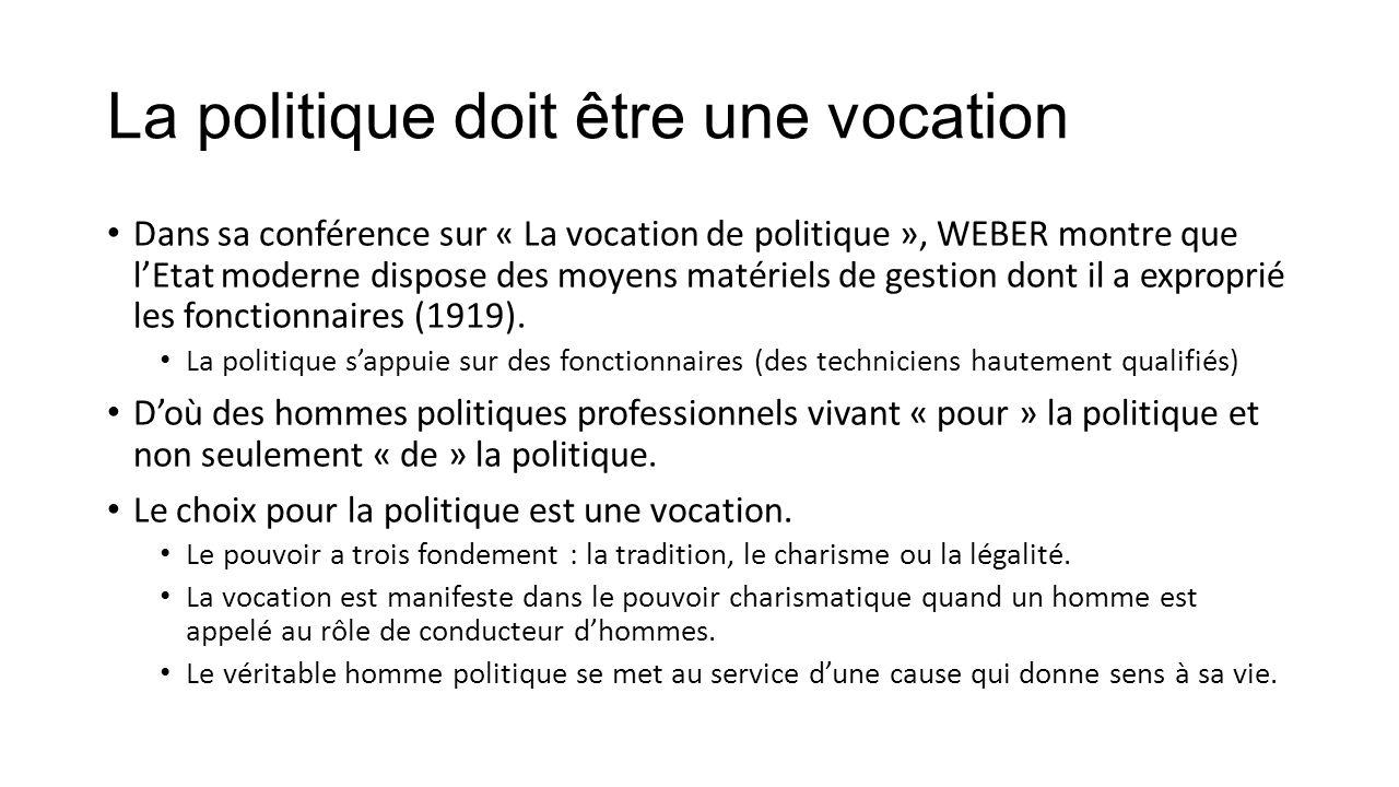 Les 3 qualités de l'homme politique La passion (le dévouement à une cause, à son « démon ») Passion ≠ « excitation stérile ».