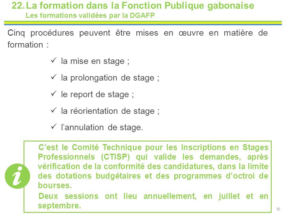 10 22.La formation dans la Fonction Publique gabonaise Les formations validées par la DGAFP Cinq procédures peuvent être mises en œuvre en matière de