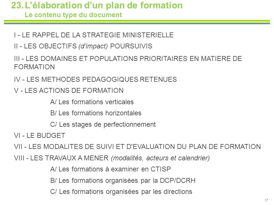 23.L'élaboration d'un plan de formation Le contenu type du document 17 I - LE RAPPEL DE LA STRATEGIE MINISTERIELLE II - LES OBJECTIFS (d'impact) POURS