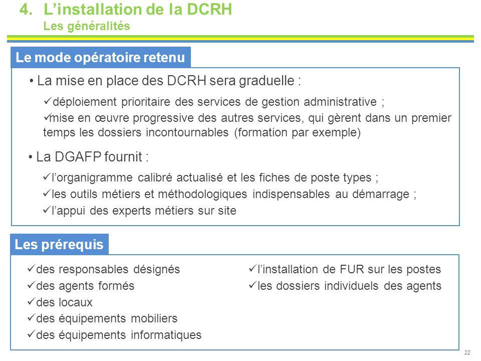 4.L'installation de la DCRH Les généralités 22 Le mode opératoire retenu La mise en place des DCRH sera graduelle : déploiement prioritaire des servic