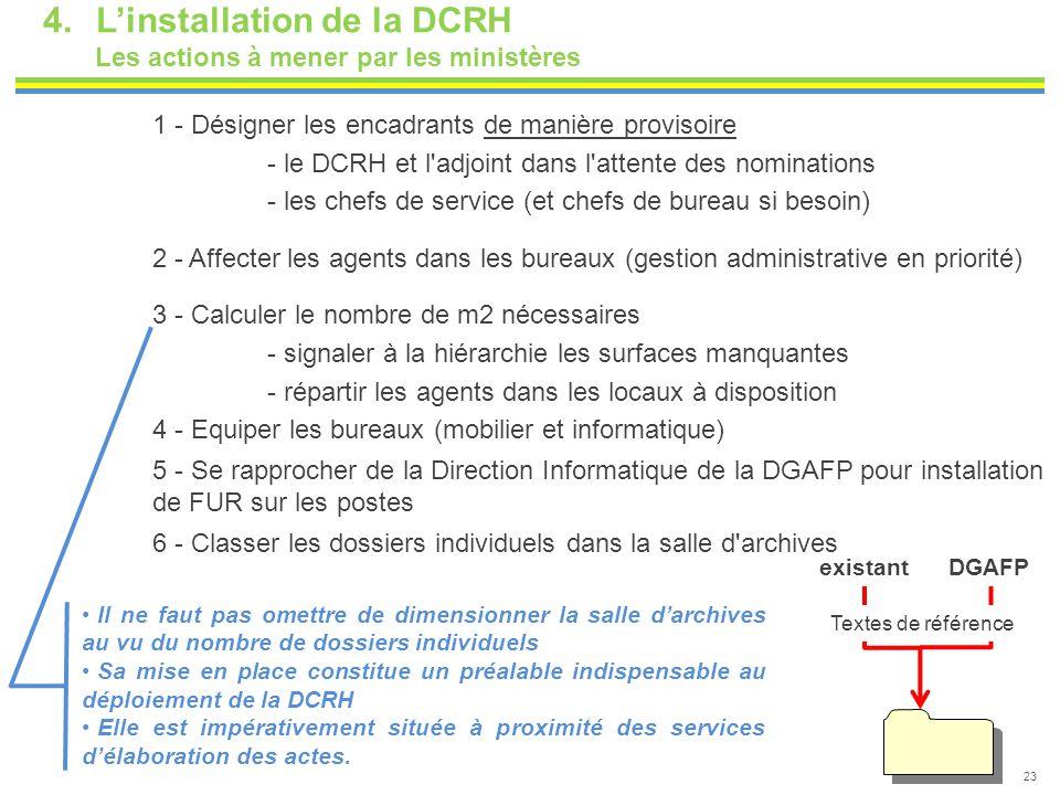 4.L'installation de la DCRH Les actions à mener par les ministères 23 1 - Désigner les encadrants de manière provisoire - le DCRH et l'adjoint dans l'