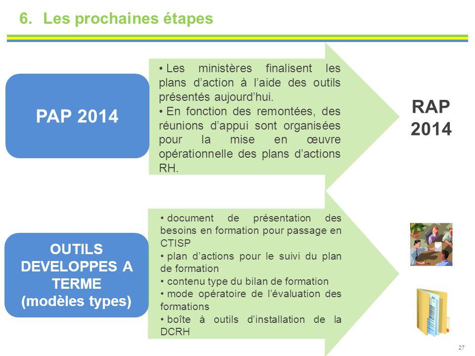 6.Les prochaines étapes 27 PAP 2014 OUTILS DEVELOPPES A TERME (modèles types) Les ministères finalisent les plans d'action à l'aide des outils présent