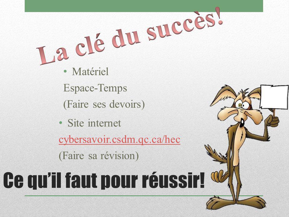 Ce qu'il faut pour réussir! Matériel Espace-Temps (Faire ses devoirs) Site internet cybersavoir.csdm.qc.ca/hec (Faire sa révision)