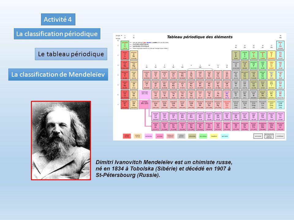La classification périodique Le tableau périodique La classification de Mendeleïev Dimitri Ivanovitch Mendeleïev est un chimiste russe, né en 1834 à Tobolska (Sibérie) et décédé en 1907 à St-Pétersbourg (Russie).