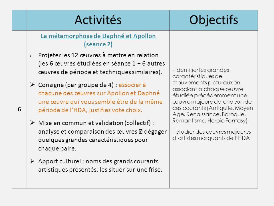 ActivitésObjectifs 6 La métamorphose de Daphné et Apollon (séance 2)  Projeter les 12 œuvres à mettre en relation (les 6 œuvres étudiées en séance 1