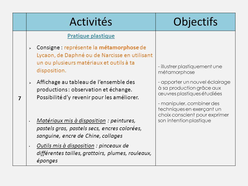 ActivitésObjectifs 7 Pratique plastique  Consigne : représente la métamorphose de Lycaon, de Daphné ou de Narcisse en utilisant un ou plusieurs matér
