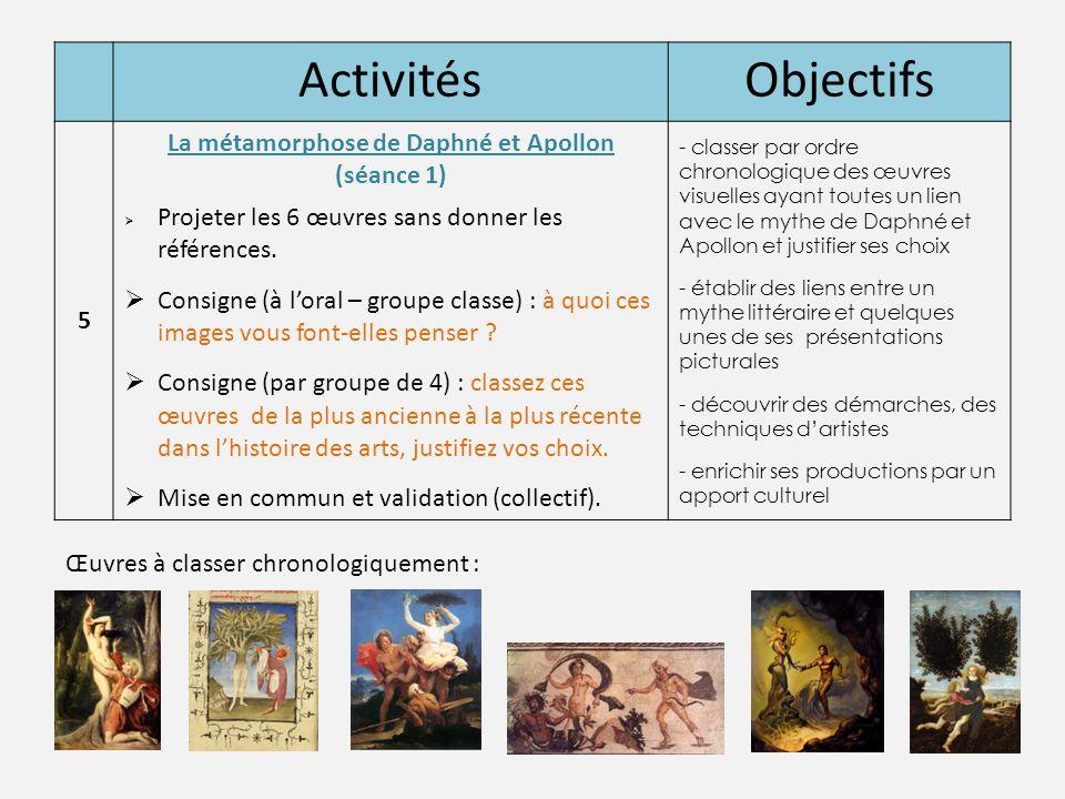 ActivitésObjectifs 5 La métamorphose de Daphné et Apollon (séance 1)  Projeter les 6 œuvres sans donner les références.  Consigne (à l'oral – groupe