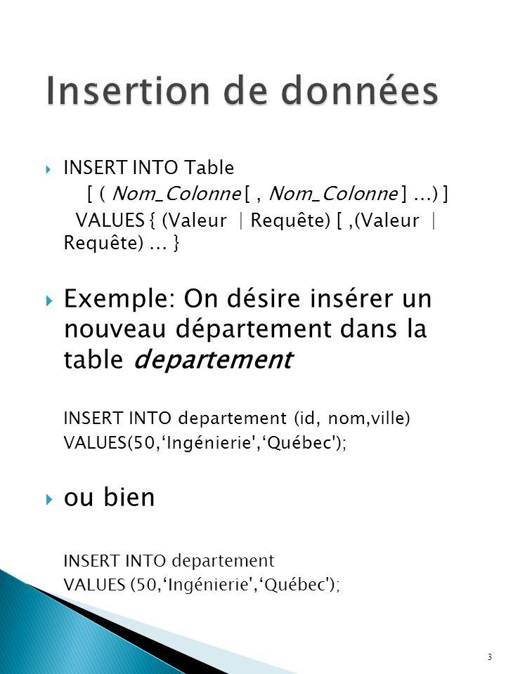  Exemple, on désire insérer un nouvel employé travaillant à Québec: INSERT INTO employe(id, nom, id_departement) VALUES (7777, 'Toto', (SELECT id FROM departement WHERE ville = 'Québec')); 4