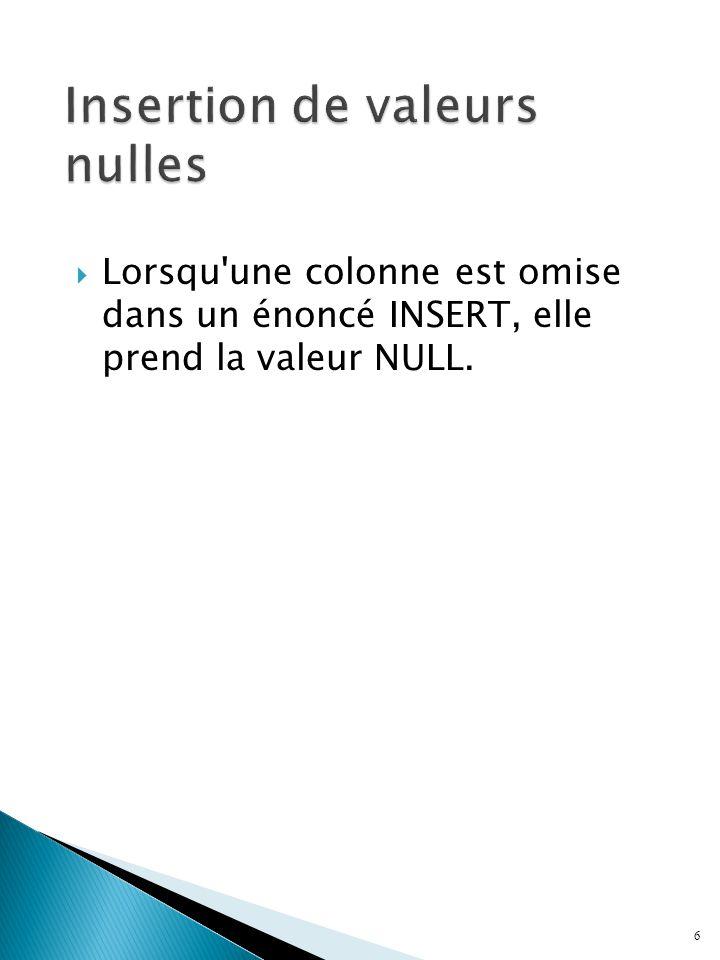  Lorsqu une colonne est omise dans un énoncé INSERT, elle prend la valeur NULL. 6