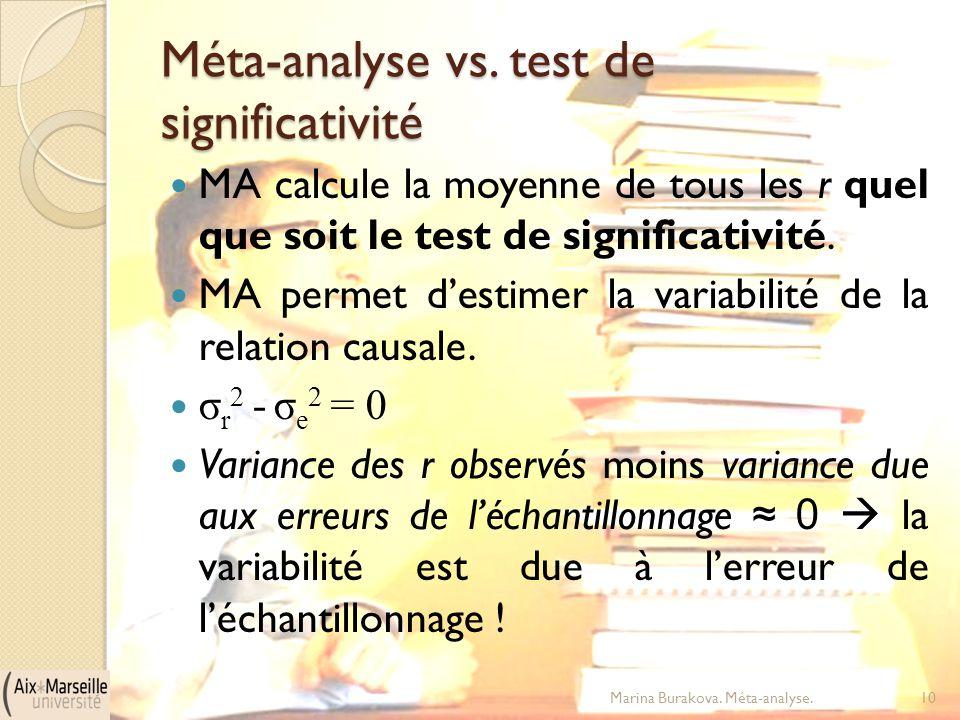 Méta-analyse vs. test de significativité MA calcule la moyenne de tous les r quel que soit le test de significativité. MA permet d'estimer la variabil