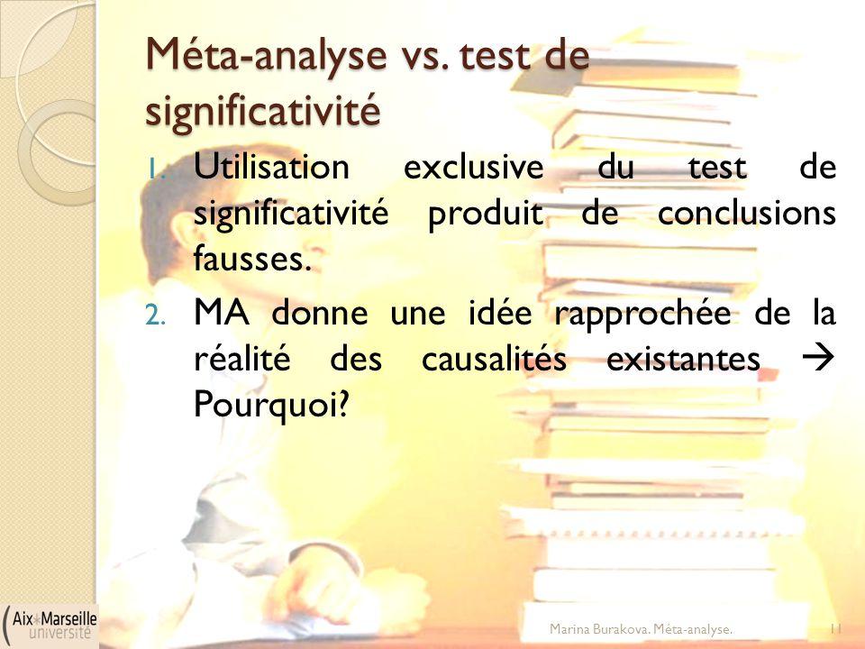 Méta-analyse vs. test de significativité 1. Utilisation exclusive du test de significativité produit de conclusions fausses. 2. MA donne une idée rapp