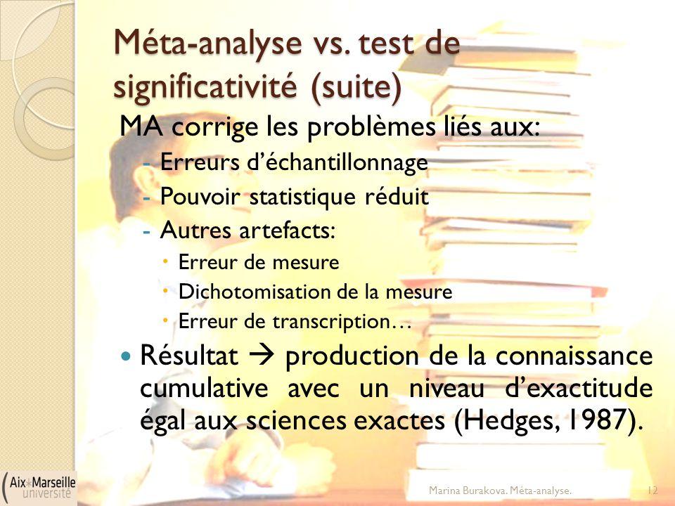 Méta-analyse vs. test de significativité (suite) MA corrige les problèmes liés aux: -Erreurs d'échantillonnage -Pouvoir statistique réduit -Autres art