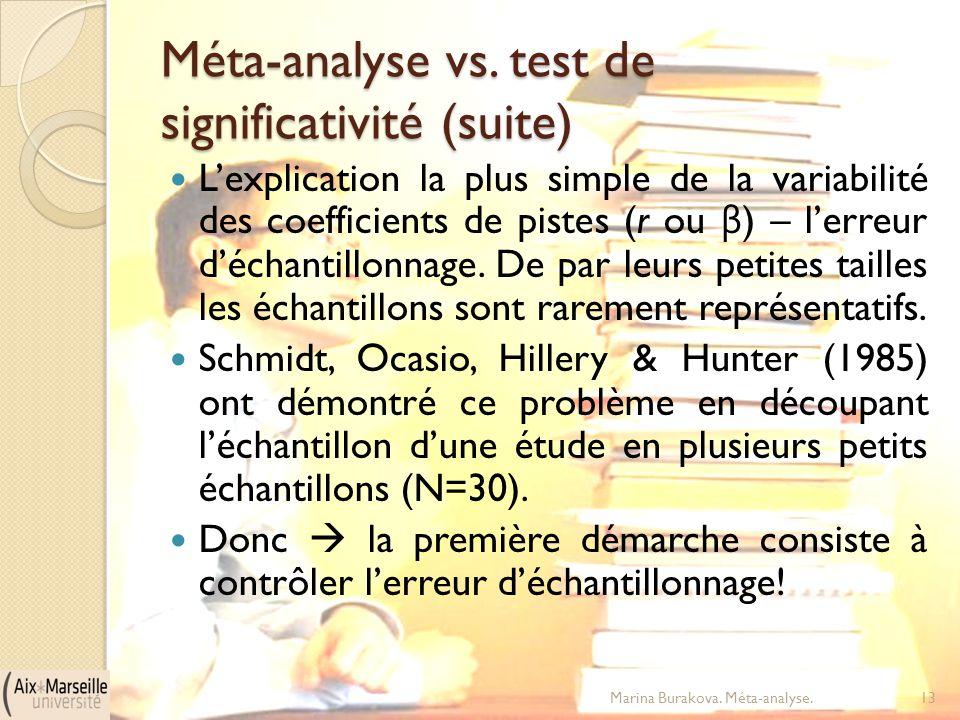 Méta-analyse vs. test de significativité (suite) L'explication la plus simple de la variabilité des coefficients de pistes (r ou β ) – l'erreur d'écha