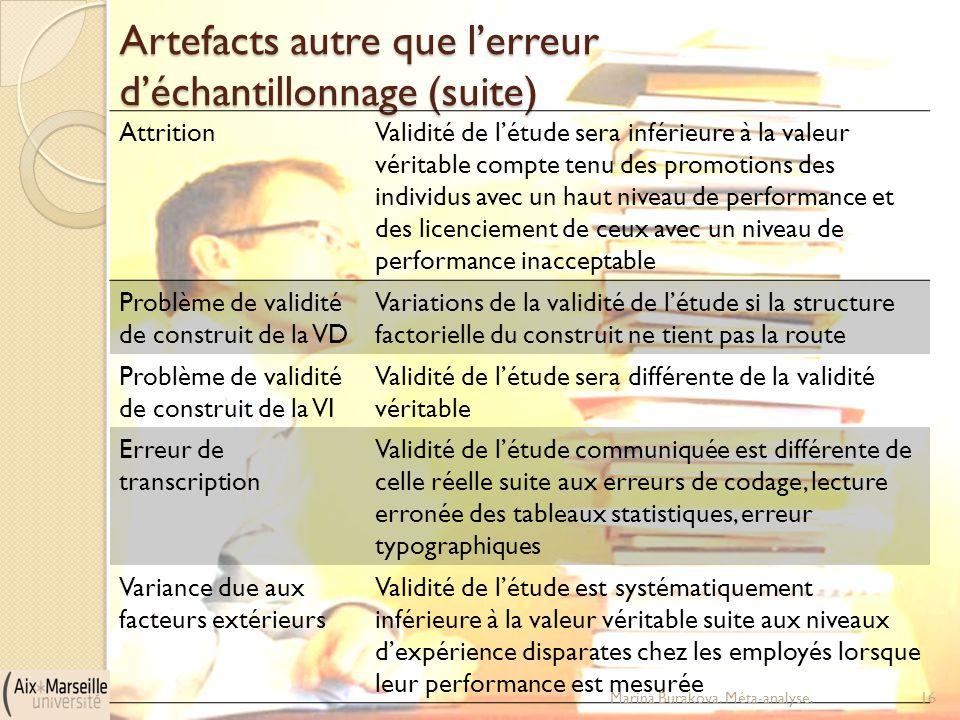 Artefacts autre que l'erreur d'échantillonnage (suite) AttritionValidité de l'étude sera inférieure à la valeur véritable compte tenu des promotions d