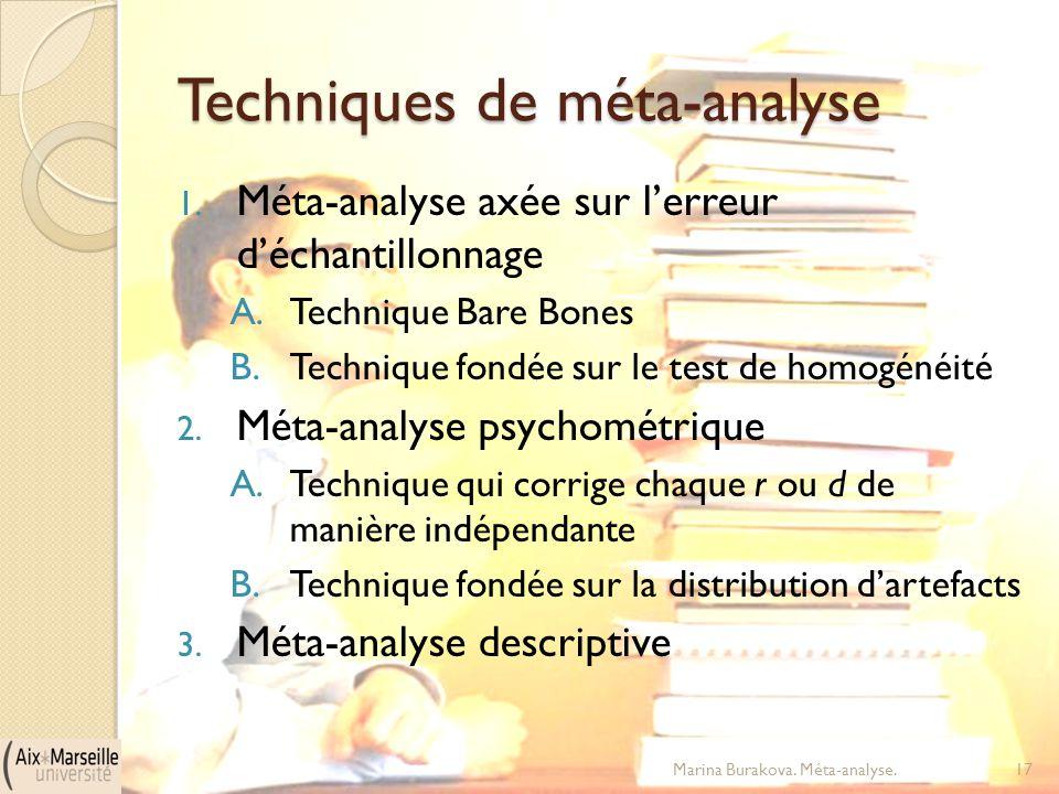 Techniques de méta-analyse 1. Méta-analyse axée sur l'erreur d'échantillonnage A.Technique Bare Bones B.Technique fondée sur le test de homogénéité 2.