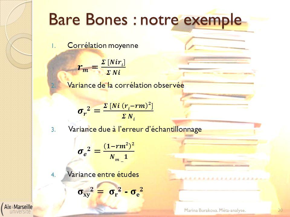Bare Bones : notre exemple Marina Burakova. Méta-analyse.20