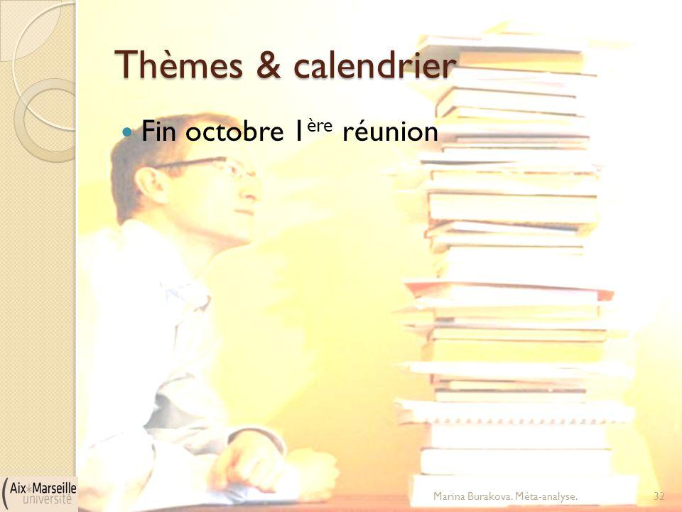 Thèmes & calendrier Fin octobre 1 ère réunion Marina Burakova. Méta-analyse.32