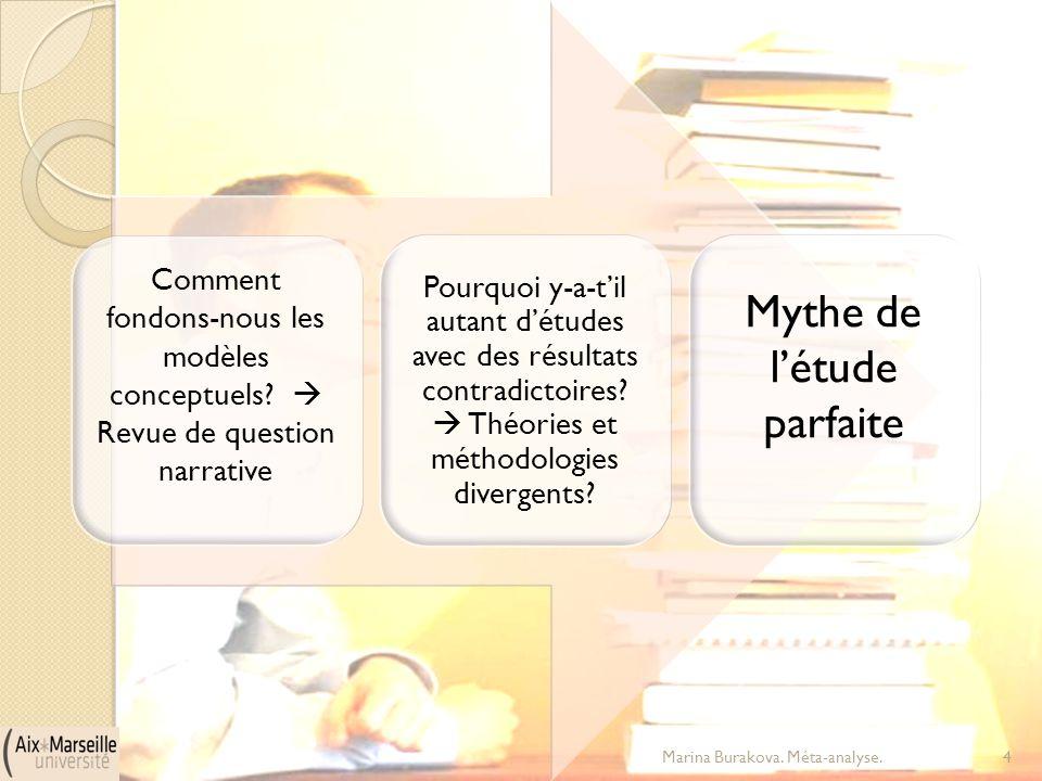 Comment fondons-nous les modèles conceptuels?  Revue de question narrative Pourquoi y-a-t'il autant d'études avec des résultats contradictoires?  Th