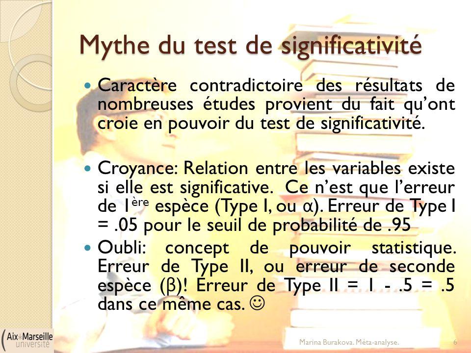 Mythe du test de significativité Caractère contradictoire des résultats de nombreuses études provient du fait qu'ont croie en pouvoir du test de signi