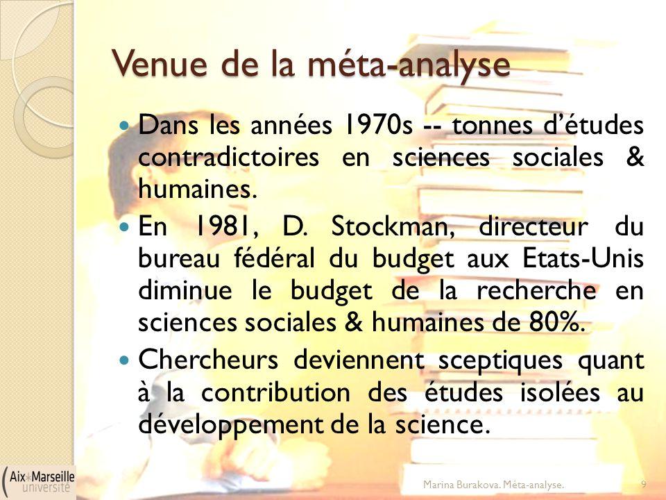 Venue de la méta-analyse Dans les années 1970s -- tonnes d'études contradictoires en sciences sociales & humaines. En 1981, D. Stockman, directeur du
