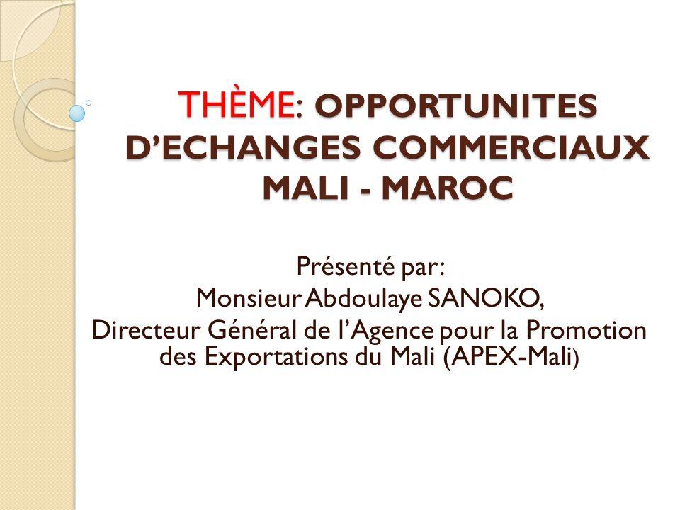 INTRODUCTION Superficie : 1 241 238 km² Population : 15 millions hbts Le Mali est un pays enclavé au cœur de l'Afrique de l'ouest Économie : à vocation essentiellement agro-pastorale Le Mali sort de la grave crise qui s'est abattue sur lui en 2012