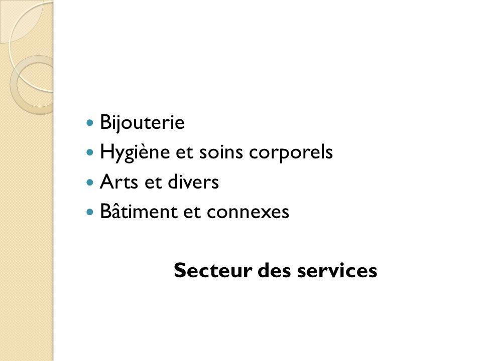 Bijouterie Hygiène et soins corporels Arts et divers Bâtiment et connexes Secteur des services
