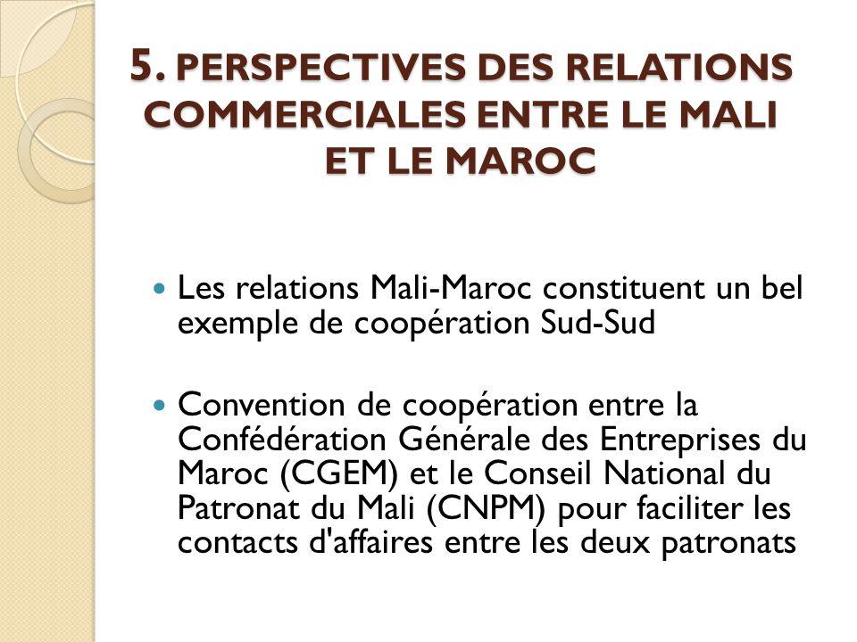 5. PERSPECTIVES DES RELATIONS COMMERCIALES ENTRE LE MALI ET LE MAROC Les relations Mali-Maroc constituent un bel exemple de coopération Sud-Sud Conven