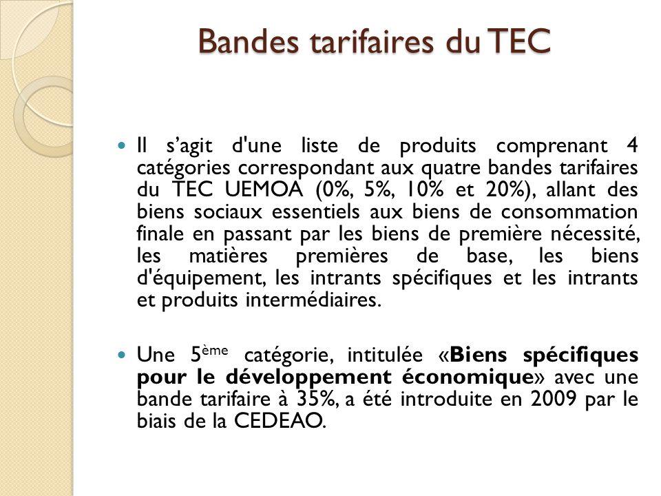 Le TEC CEDEAO comprend d autres éléments, comme : la redevance statistique (RS) et le prélèvement communautaire, ainsi que diverses autres mesures de défense commerciale, actuellement en cours d élaboration, et qui doivent être finalisés et adoptés par les instances statutaires de la CEDEAO.