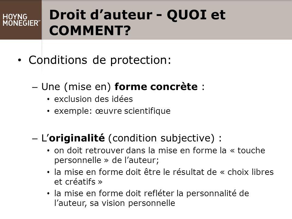 Droit d'auteur - QUOI et COMMENT.