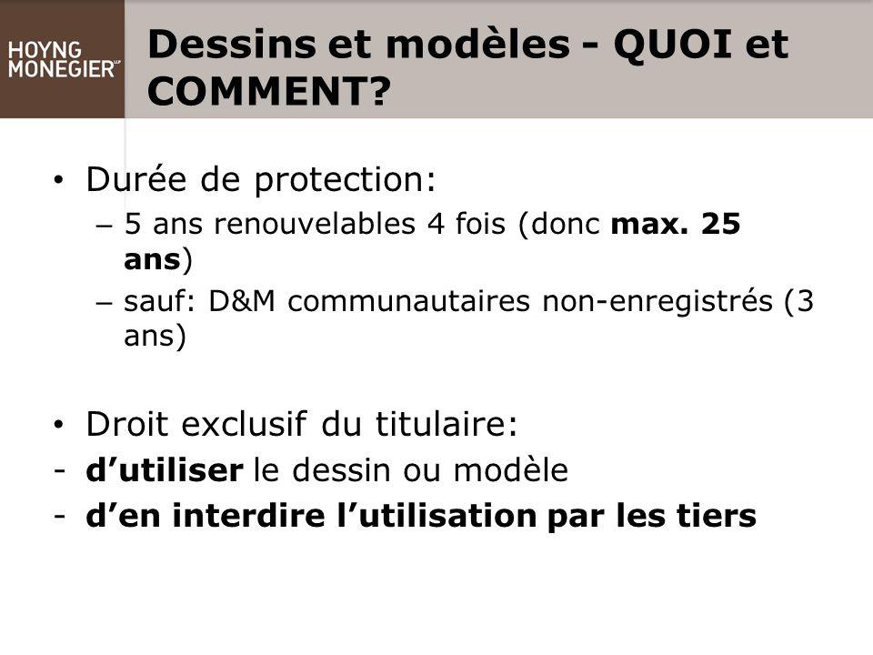 Dessins et modèles - QUOI et COMMENT. Durée de protection: – 5 ans renouvelables 4 fois (donc max.