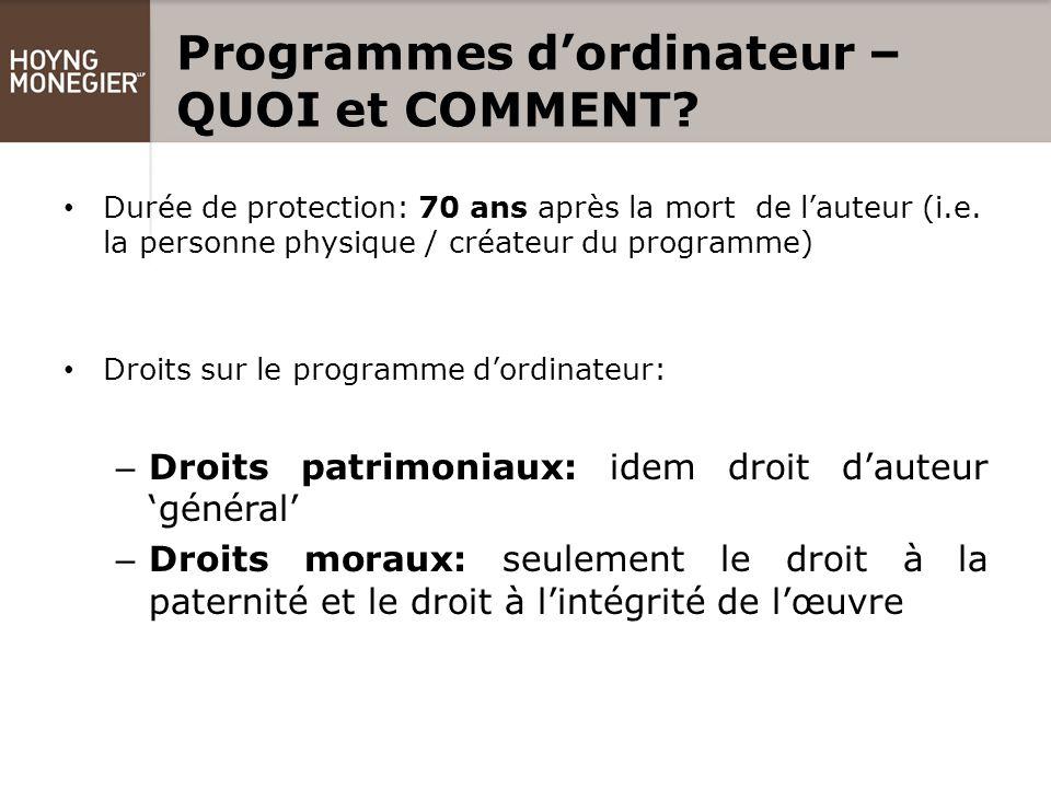 Programmes d'ordinateur – QUOI et COMMENT.