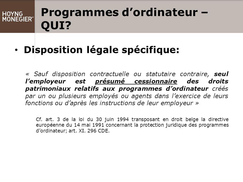 Programmes d'ordinateur – QUI.