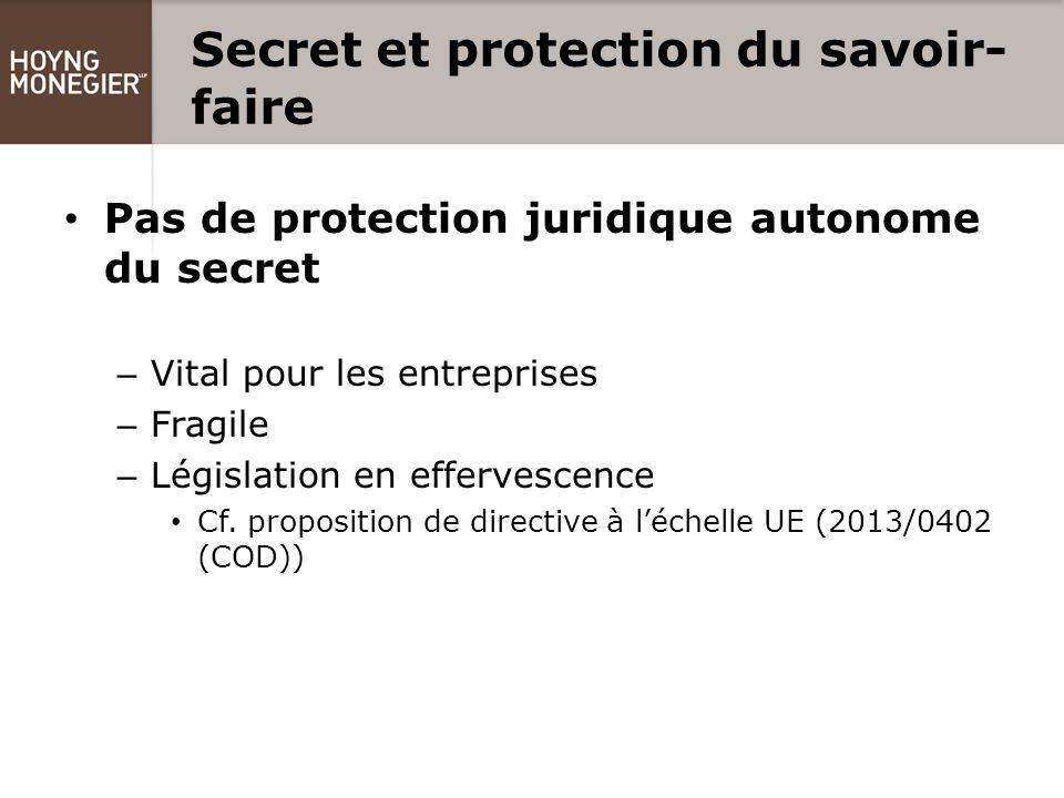 Secret et protection du savoir- faire Pas de protection juridique autonome du secret – Vital pour les entreprises – Fragile – Législation en effervescence Cf.