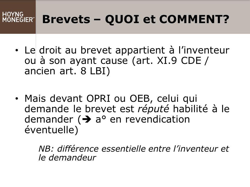 Brevets – QUOI et COMMENT. Le droit au brevet appartient à l'inventeur ou à son ayant cause (art.