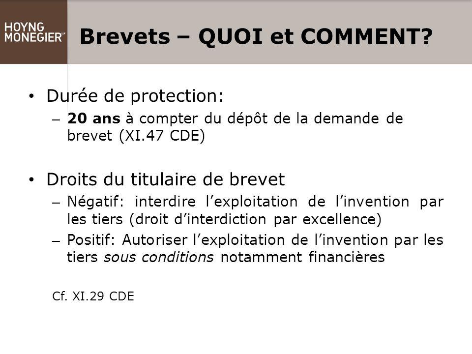 Dessins et modèles - QUOI et COMMENT.Durée de protection: – 5 ans renouvelables 4 fois (donc max.