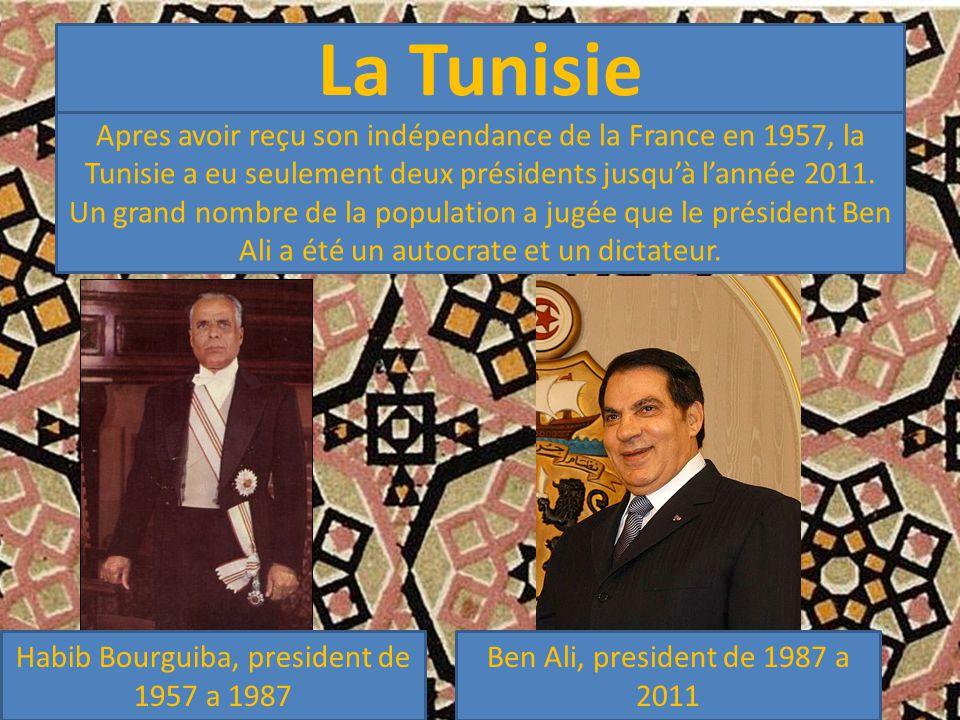 La Tunisie Apres avoir reçu son indépendance de la France en 1957, la Tunisie a eu seulement deux présidents jusqu'à l'année 2011.