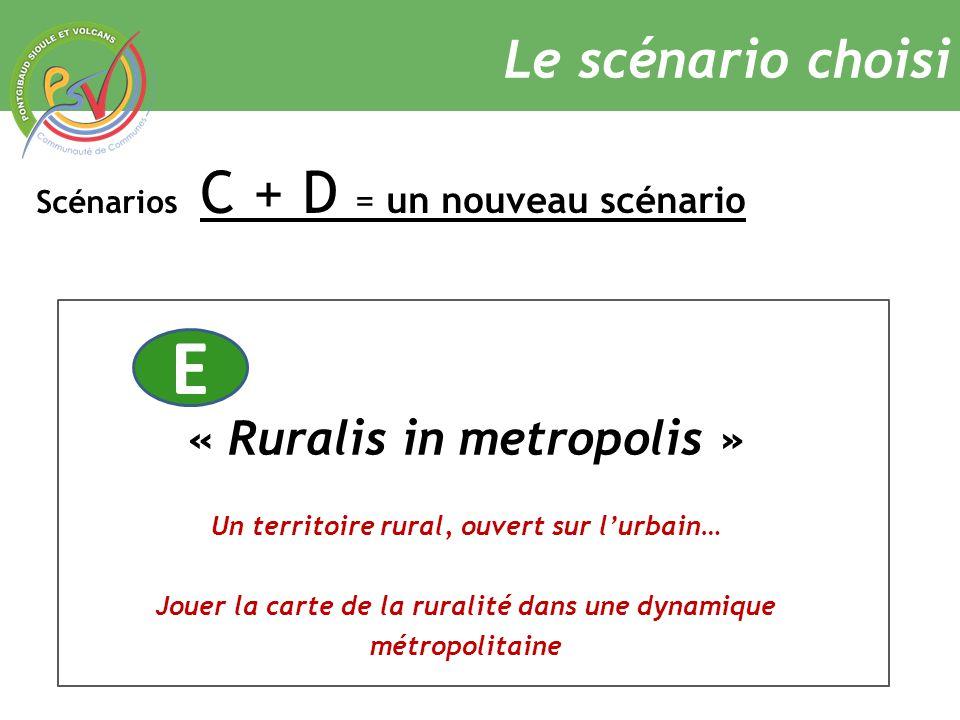 Scénarios C + D = un nouveau scénario Le scénario choisi « Ruralis in metropolis » Un territoire rural, ouvert sur l'urbain… Jouer la carte de la ruralité dans une dynamique métropolitaine E