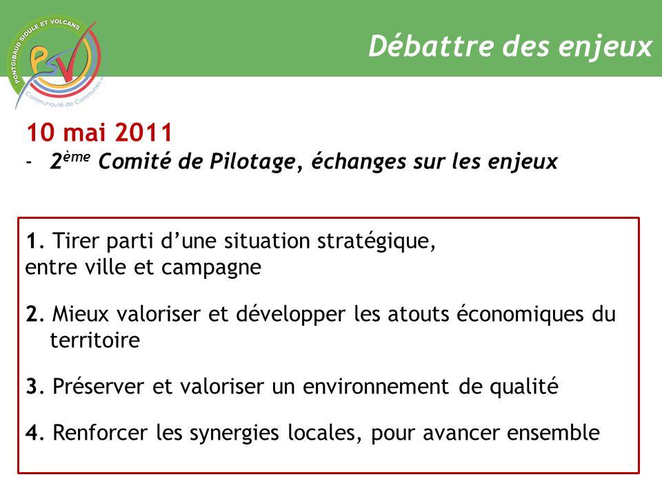 Débattre des enjeux 10 mai 2011 -2 ème Comité de Pilotage, échanges sur les enjeux 1.